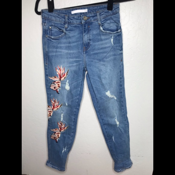 6c7ebc80 Zara Jeans | Koi Fish Embroidered Distressed 2 | Poshmark